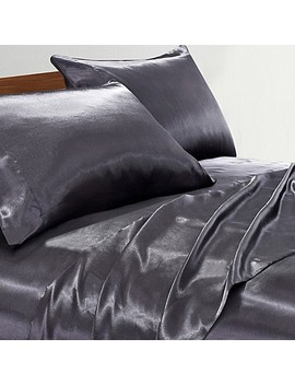 Satin Radiance 230 Thread Count Full Sheet Set In Black by Bed Bath And Beyond