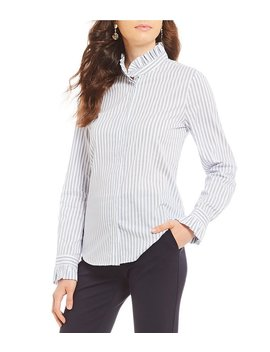Josie Stripe Ruffle Blouse by Generic