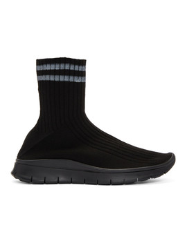 Black High Top Sock Sneakers by Maison Margiela