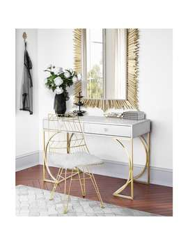 Lexie Grey Desk With Goldtone Finish Steel Base by Generic