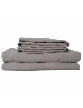 Simple&Opulence 100 Percents Stone Washed Linen 3 Piece White Grey Purple Linen Solid Embroidered Duvet Cover Set (King, Linen) by Amazon