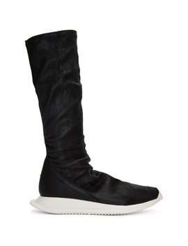 Black Oblique Sock High Top Sneakers by Rick Owens