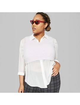 Women's Plus Size Long Sleeve Sheer Button Down Top   Wild Fable™ White by Shop All Wild Fable™