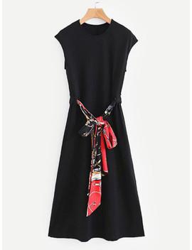 Self Tie Longline Dress by Sheinside