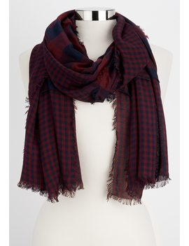 Mixed Plaid Oblong Scarf by Maurices