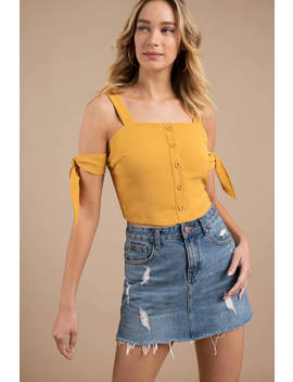 Moon River Sunshine Side Tie Marigold Crop Top by Tobi