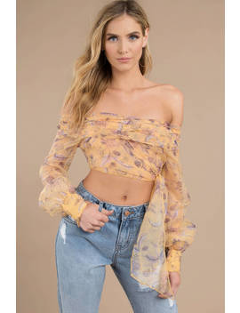 Sasha Yellow Organza Floral Off Shoulder Wrap Top by Tobi