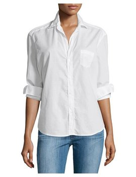 Eileen Button Front Poplin Shirt, White by Frank & Eileen