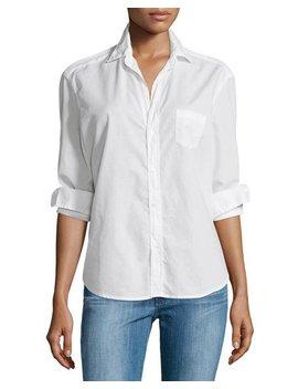 Eileen Button Front Poplin Shirt, White by Frank & Eileen