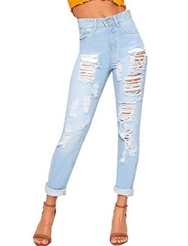 Wear All Women's Extreme Ripped Distressed Wide Leg Mom Jeans Trousers Pants by Wear All