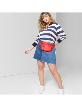 Women's Plus Size Colorblock Zip Front Denim Mini Skirt   Wild Fable™ Medium Wash by Shop All Wild Fable™