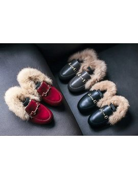 Wendywu New Arrival Children's Shoes Rabbit Fur Shoes High Quality Leather Shoes Super Cute Protection Baby Eu21 35 3 Colors by Wendywu