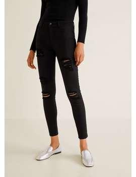 Jeans Skinny Com Pormenores Rotos by Mango
