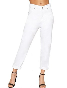 Wear All Women's High Waisted Baggy Turn Up Mom Jeans Pants Trousers Pocket by Wear All