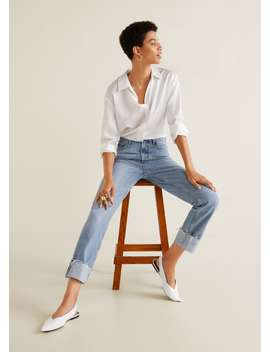 Jeans Relaxed De Base Com Dobra by Mango