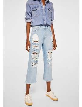 Jeans Relaxed Com Pormenores Rotos Decorativos by Mango
