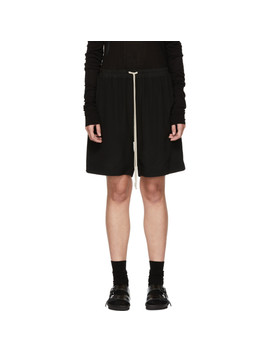 Black Silk Crepe Shorts by Rick Owens