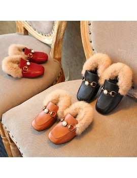 Girls Cotton Shoes 2017 Winter New Children's Shoes Korean Fashion Pearl Plush Shoes Sets Foot Children's Cotton Shoes by Dadixiong