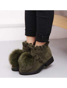 Cozulma 2018 New Kid Ankle Boots For Girls Winer Autumn Plush Boots Princess Fashion Ball Fur Shoes Children Warm Shoes With Fur by Cozulma