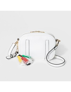 Cesca Medium Crossbody Bag With Tassel Detailing   White by Shop All Cesca