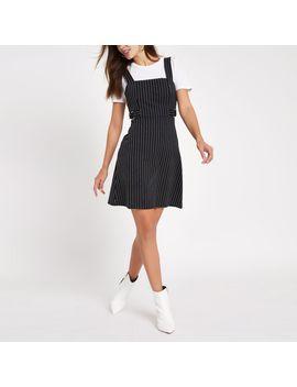 Black Stripe D Ring Waist Belt Mini Dress by River Island