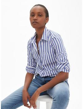 Stripe Long Sleeve Shirt In Poplin by Gap