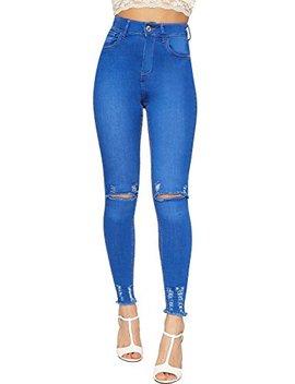 Wear All Women's Ripped Distressed Stretch Denim Skinny Leg Jeans Pants by Wear All