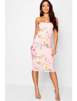 Boutique Pink Floral Bandeau Midi Dress by Boohoo