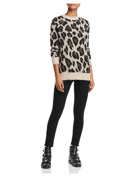 Animal Print Crewneck Cashmere Sweater   100 Percents Exclusive  by Aqua Cashmere