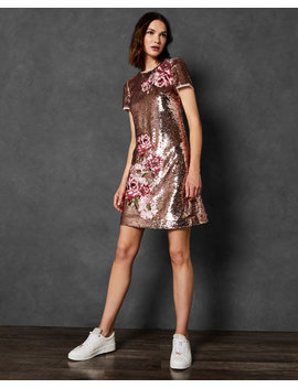 Embroidered Sequin Shift Dress by Ted Baker
