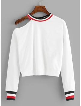 Striped Cut Out Neck Sweatshirt by Sheinside