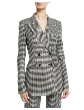 Dario Double Breasted Houndstooth Wool Cashmere Blazer by Gabriela Hearst