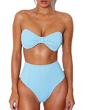 Esonlar Women's Sexy Bandeau Bow Knot High Waist Ribbed 2 Pcs Bikini Sets Swimsuit by Esonlar