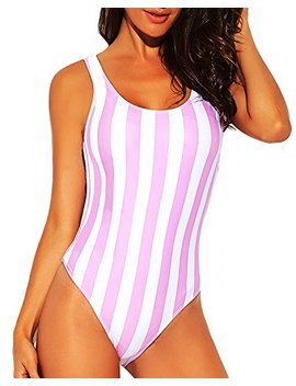 Funnygirl Women's Sexy Colorful Stripe One Piece Swimsuit High Cut Backless Beach Swimwear Bathing Suit by Funnygirl