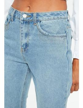 Blue Riot Metal Beaded Tassel Pocket Mom Jeans by Missguided