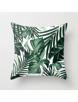 Tropical Jungle Leaves Pattern #4 #Tropical #Decor #Art #Society6 Throw Pillow by