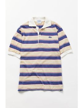 Vintage Lacoste Blue + Buff Striped Polo Shirt by Urban Renewal
