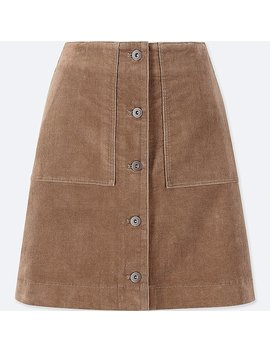 Women Corduroy Front Button High Waist Mini Skirt by Uniqlo