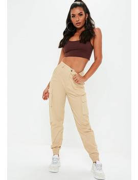 High Waist Cargo Hose In Beige by Missguided
