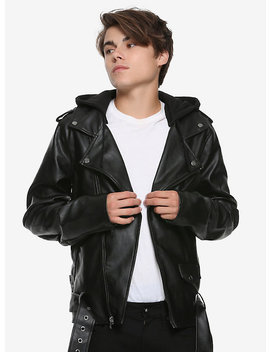 Black Faux Leather Motorcycle Hooded Jacket by Hot Topic