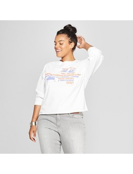 Women's Nasa Plus Size Long Sleeve Cropped Graphic T Shirt (Juniors') White by Shop All Mighty Fine