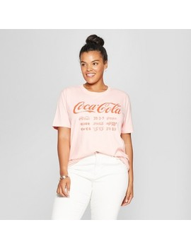 Women's Coca Cola Plus Size Short Sleeve Boyfriend Graphic T Shirt (Juniors') Blush by Shop All Mighty Fine