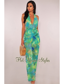 Teal Green Palm Print Halter Belted Palazzo Jumpsuit by Hot Miami Style