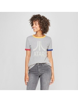 Junk Food Women's Atari Short Sleeve Ringer Graphic T Shirt   Heather Gray by Shop All Junk Food