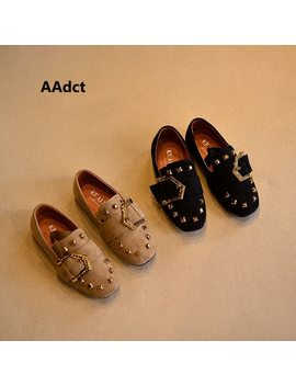A Adct 2018 Spring Princess Girls Shoes Little Kids Shoes For Girls Rivet Square Toe Metal Decoration Little Children Shoes  by A Adct