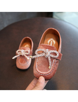 2018 Spring Non Slip Girls Princess Shoes Bow Soft Bottom 1 3 Years Old Children Bean Shoes Kids Slip On Loafers Eu 21 25 by Rubber Brother