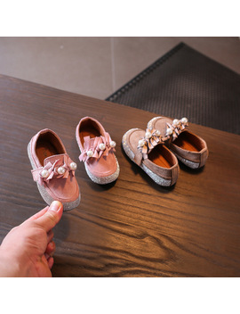2018 Girls Single Suede Shoes Soft Bottom Water Bricks Bow Tie Princess Autumn Pearl Design Shoes 0 1 3 Years Old Cool  by The Little Wings