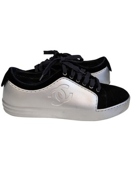 Blue And Silver Cc Logo Leather & Velvet Sneakers Tennis Sneakers by Chanel
