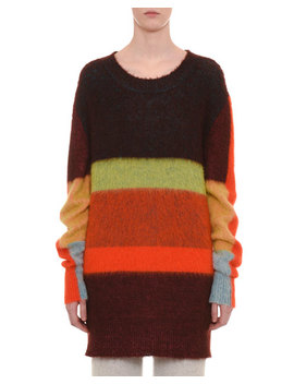 Mohair Alpaca Blend Crewneck Multicolor Stripe Long Pullover Sweater by Missoni