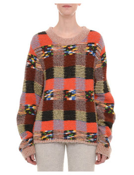 Crewneck Long Sleeve Check Patchwork Alpaca Blend Sweater by Missoni